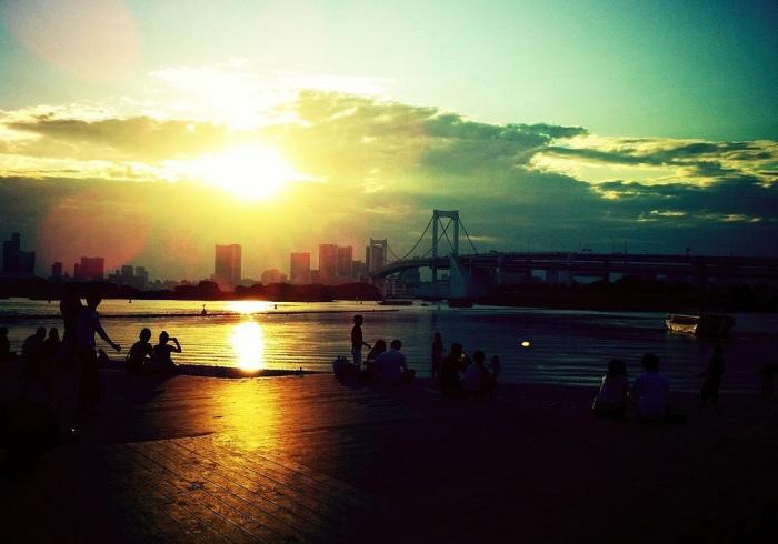 台場海濱公園黃昏 圖片取自:https://www.flickr.com/photos/keganimushi/5921859233/