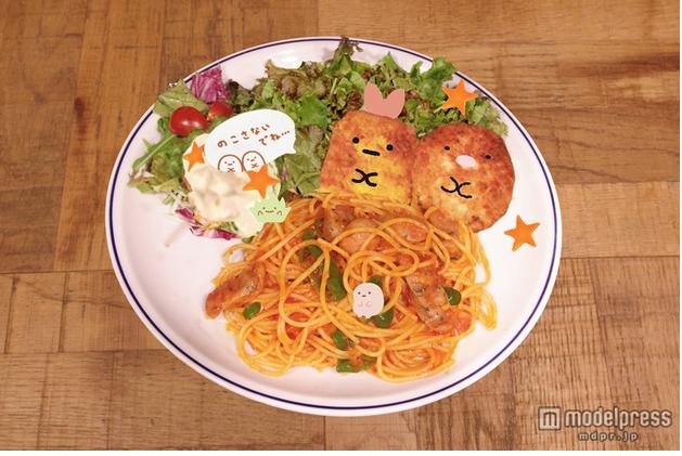 炸蝦君與豬排君義大利麵。圖片取自:http://travel.mdpr.jp/photo/detail/1801476