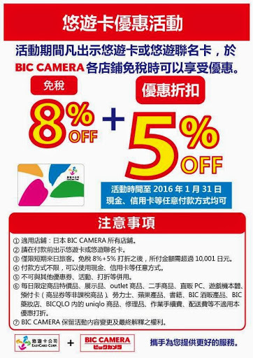 BIC CAMERA 優惠卷。圖片取自:http://www.biccamera.co.jp/language/camp/easycard-150201.html